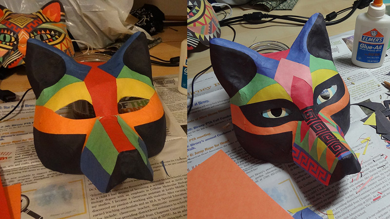 construction paper wolf mask process