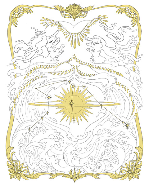 Final line art with gold coloring for aquarius