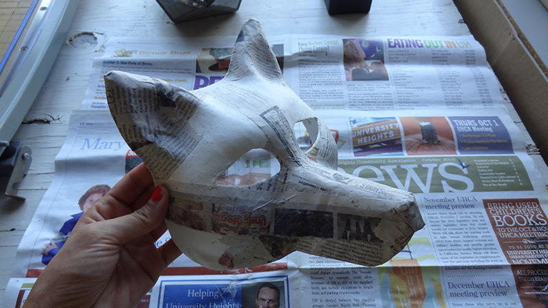 dried paper mache wolf mask