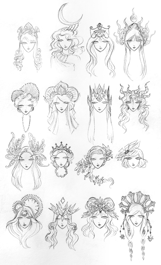 i like to sketch out different headdresses and hairstyles so i thought id share a page of my sketchbook where i explore different ideas