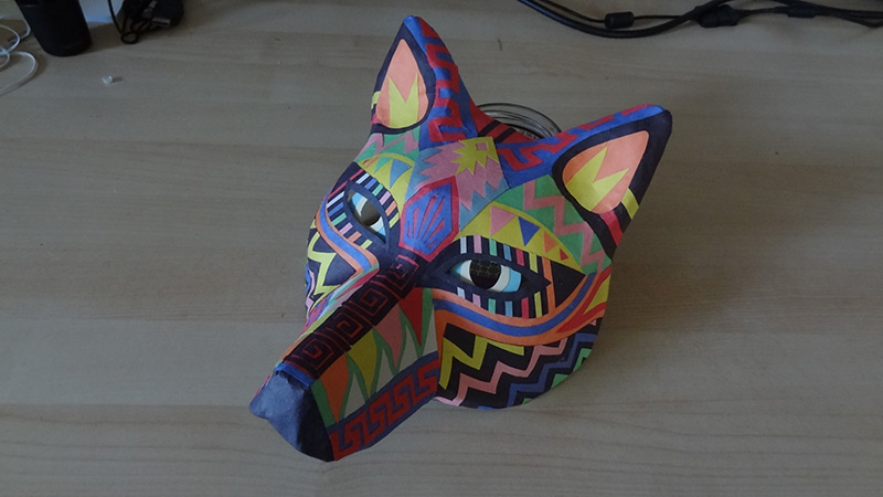 tribal pattern wolf mask