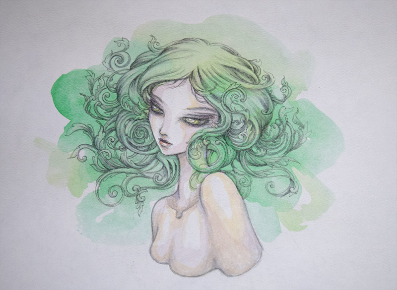 green filigree watercolor girl