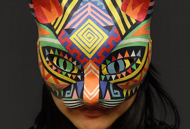 halloween cat mask - colorful paper tribal