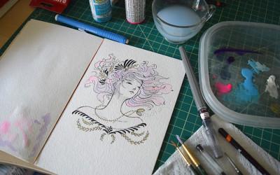 Ink & Light Acrylic Sketch