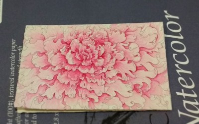 Watercolor Peony Flower Card